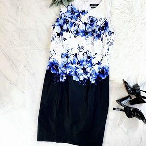 Ralph Lauren Blue Floral Midi Sheath Career Dress